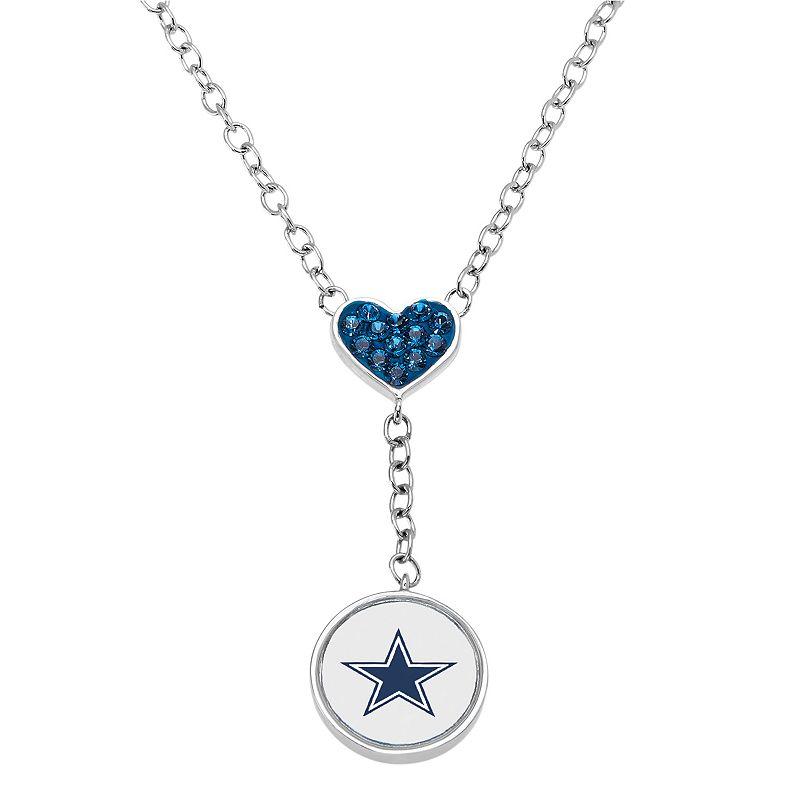Dallas Cowboys Crystal Heart & Logo Y Necklace