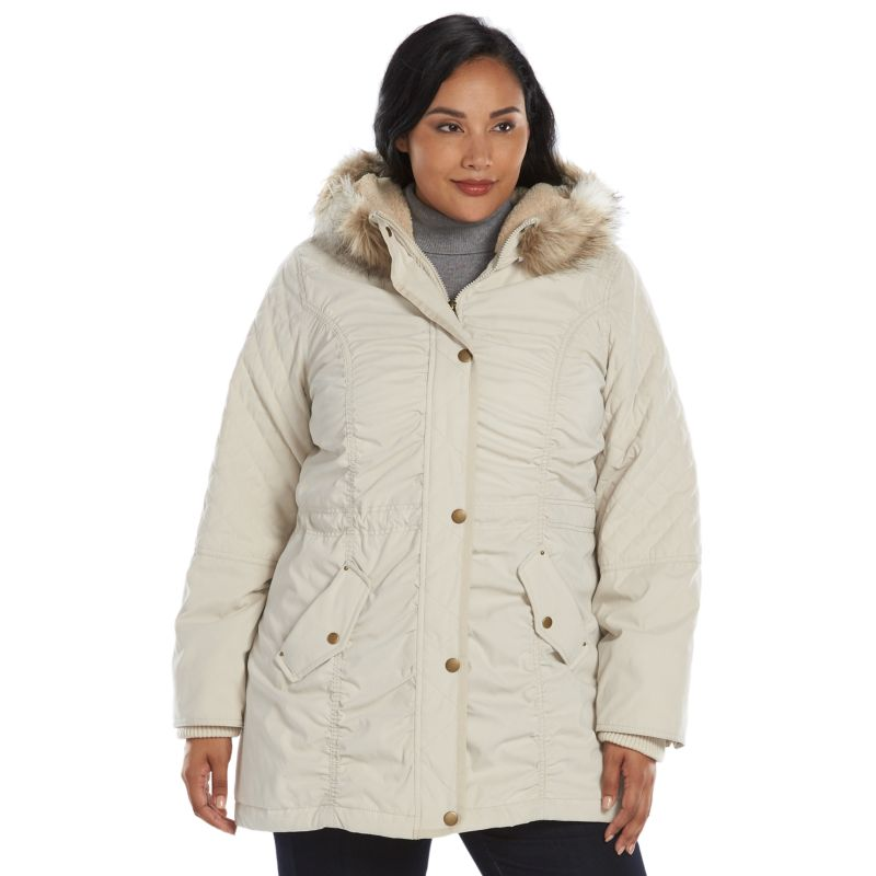 Plus Size Braetan Hooded Microfiber Anorak Jacket, Women's, Size: 1X, Beige/Khaki
