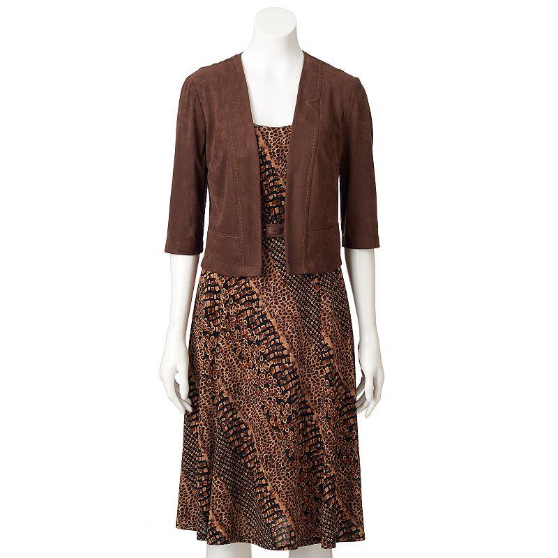 Perceptions Animal A-Line Dress & Solid Jacket Set - Women's
