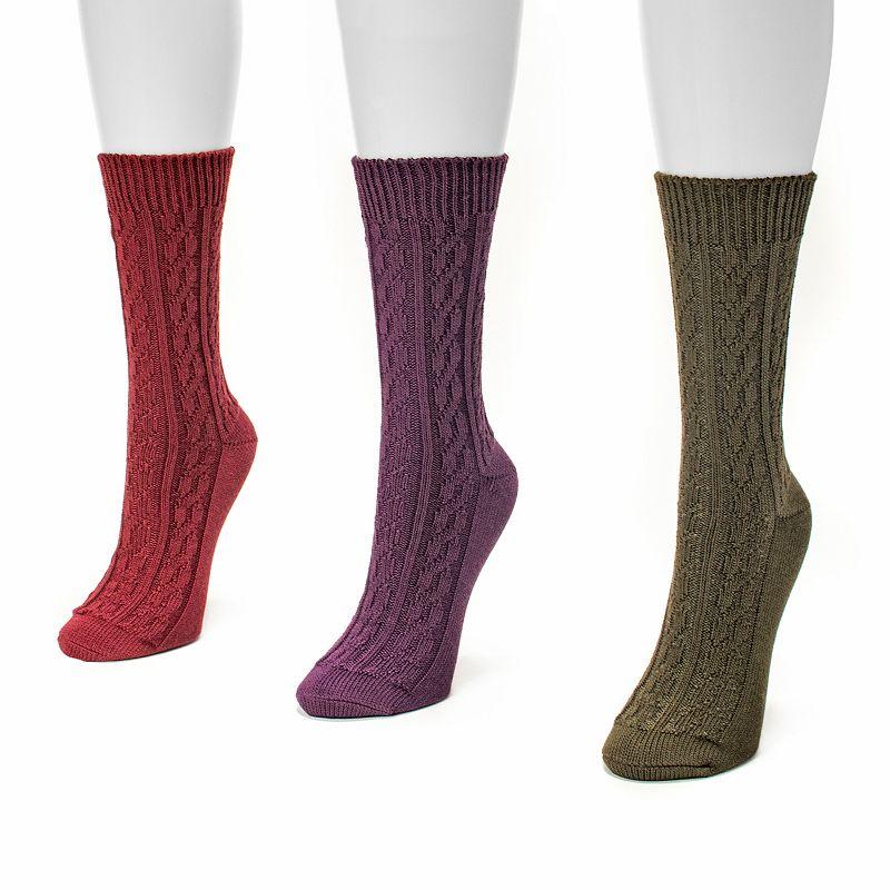 MUK LUKS 3-pk. Women's Cable-Knit Crew Socks
