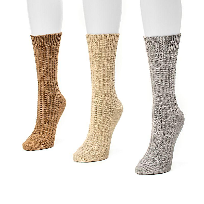 MUK LUKS 3-pk. Women's Waffle-Knit Crew Socks
