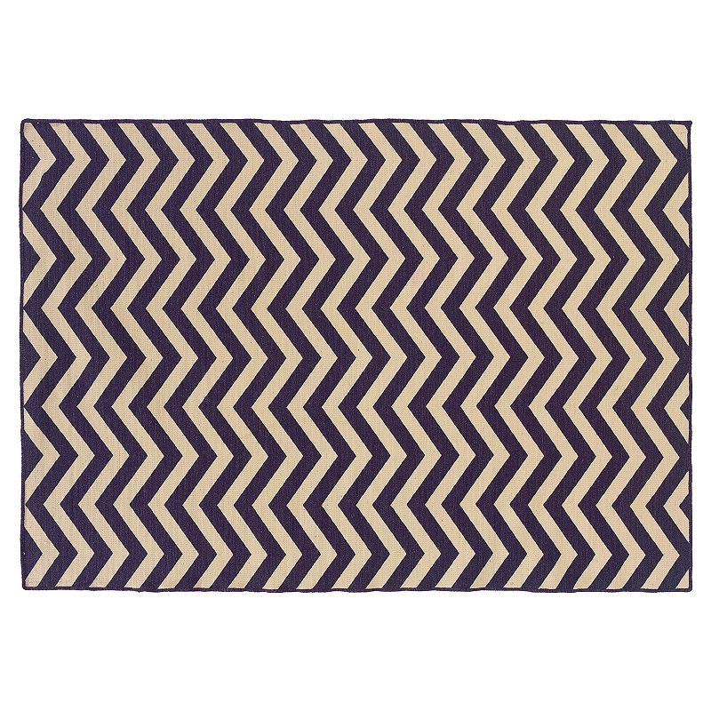 Linon Salonika Chevron Reversible Wool Rug - 5' x 8'