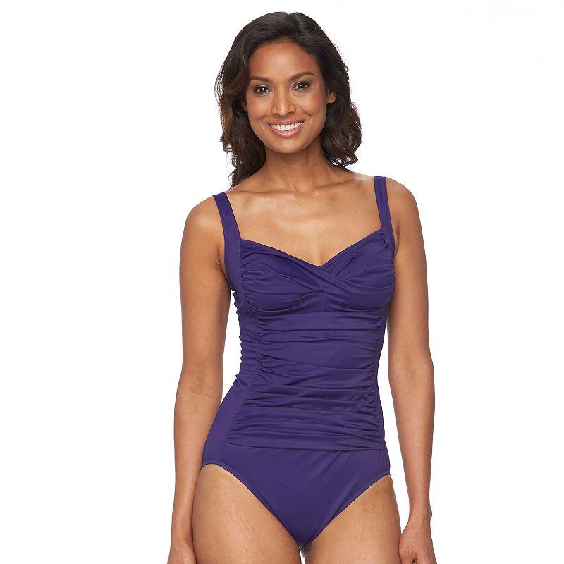 Women's Croft & Barrow® Long Torso Ruched One-Piece Swimsuit