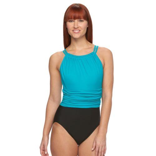 Women's Croft & Barrow® Double-Strap One-Piece Swimsuit