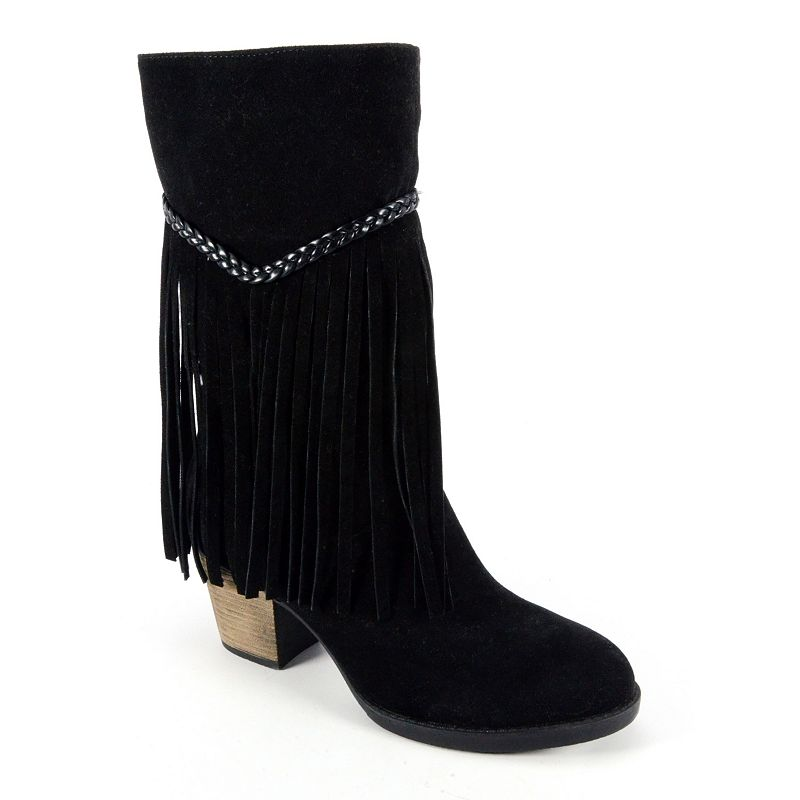 Corkys Women's Fringe Heeled Dress Boots
