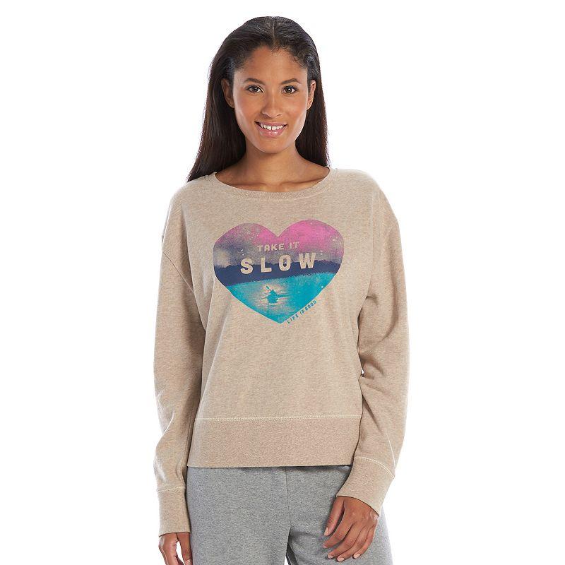 Life is Good Go To Fleece-Lined Scoopneck Sweatshirt - Women's