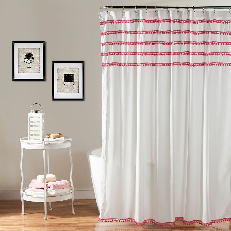 Lush Decor Aria Pom Pom Shower Curtain