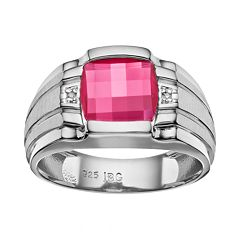 Men's Lab-Created Ruby & Diamond Accent Sterling Silver Ring by