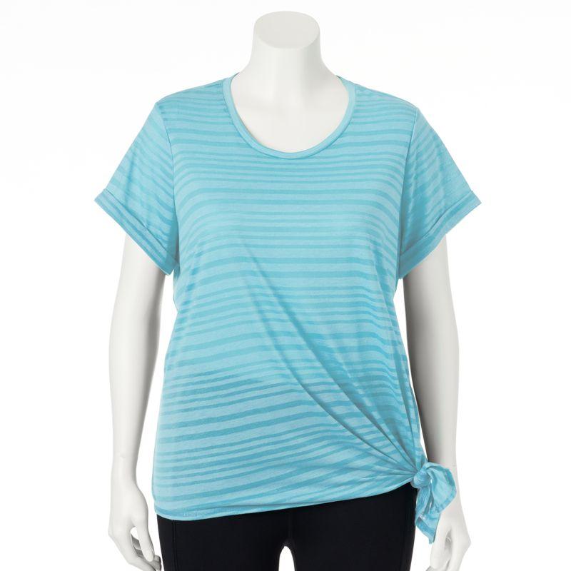 Plus Size Plus Size Tek Gear Striped Side-Tie Lifestyle Yoga Tee, Women's, Size: 1X, Blue