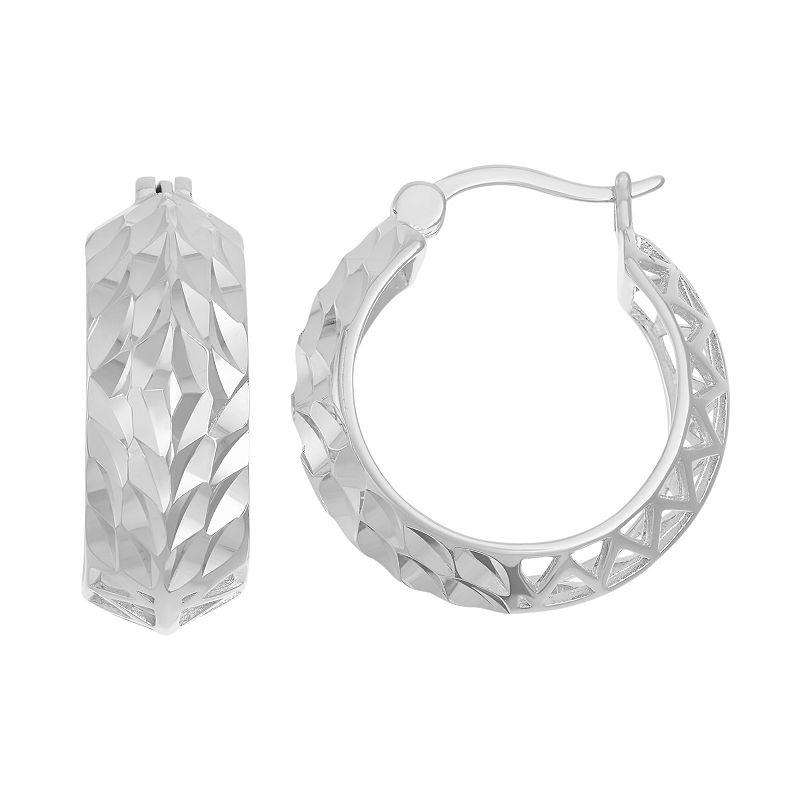 Sterling Silver Textured Openwork Hoop Earrings