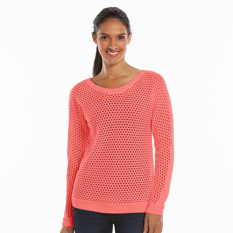 Women's SONOMA Goods for Life™ Open-Work Crewneck Sweater