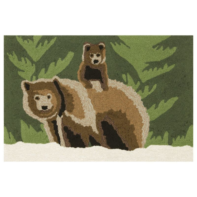 Liora Manne Frontporch Bear Family Indoor Outdoor Rug, Green thumbnail