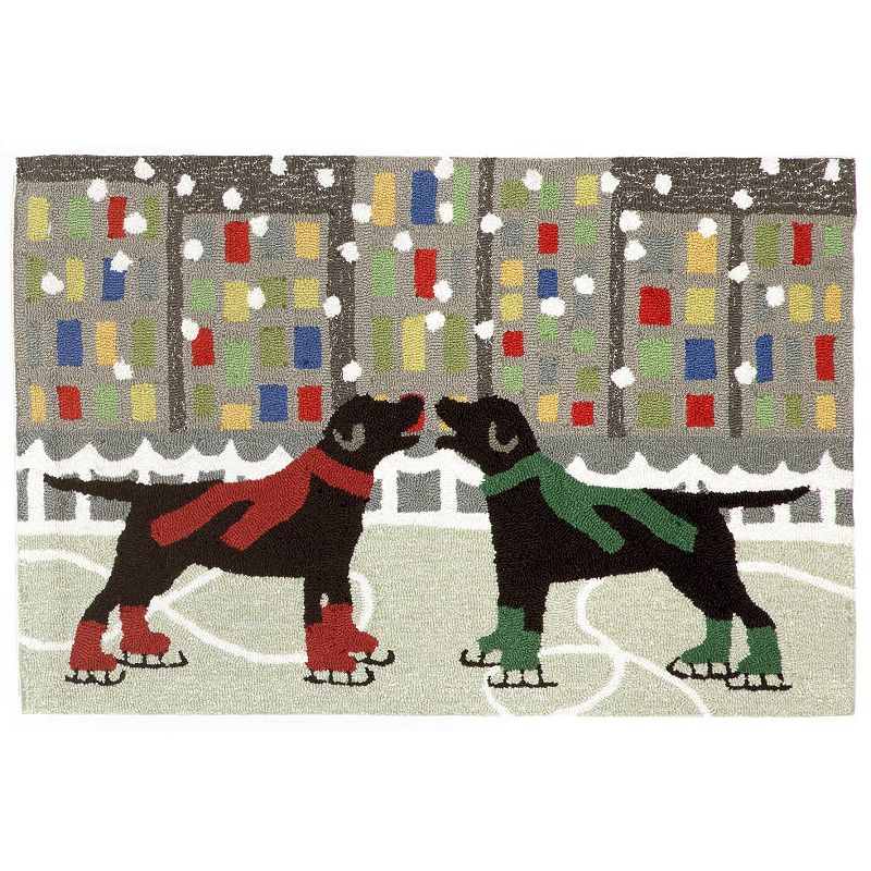 Trans Ocean Imports Liora Manne Frontporch Holiday Ice Dogs Indoor Outdoor Rug