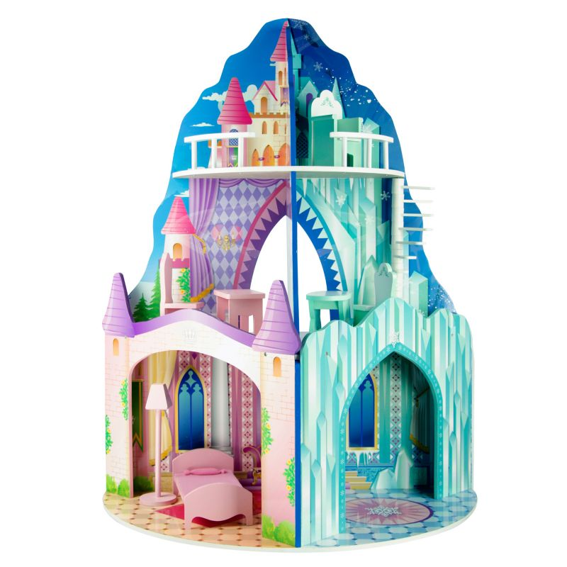 Teamson Kids Ice Mansion & Dream Castle Dual Theme Dollhouse, Multicolor