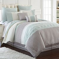 Pacific Coast Textiles 8-pc. Stripe Embroidered Comforter Set
