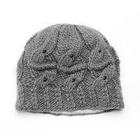 SIJJL Women's Beaded Cable-Knit Wool Beanie