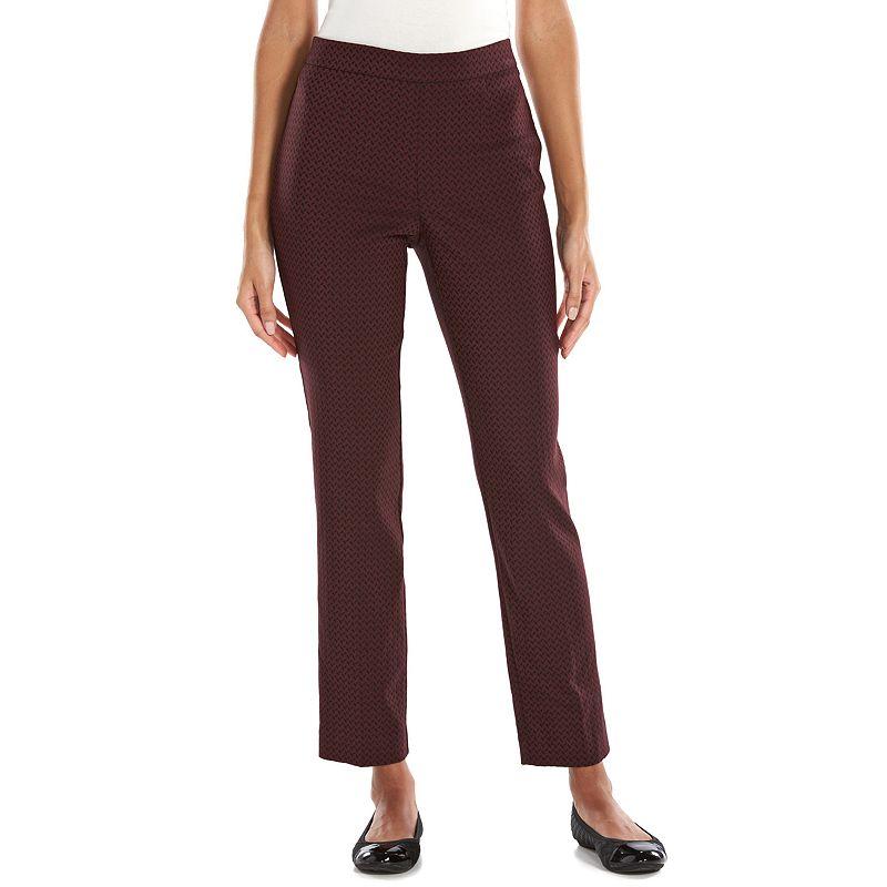 Dana Buchman Millennium Printed Slim Pull-On Pants - Women's