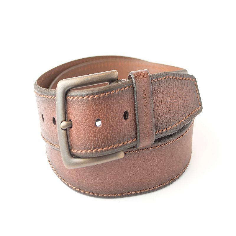 Men's Columbia Stitched Bevel-Edge Leather Belt
