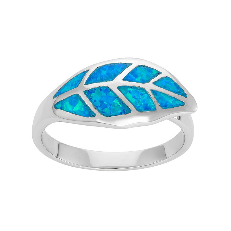 Lab-Created Blue Opal Sterling Silver Leaf Ring