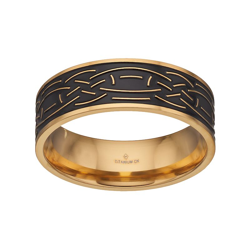 Men's Two Tone Ion-Plated Titanium Celtic Knot Band
