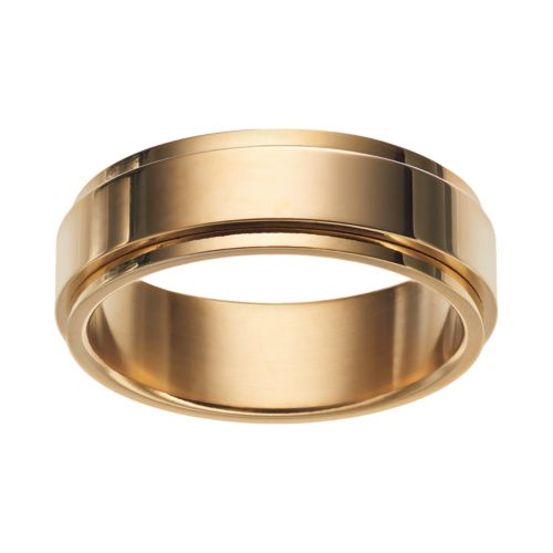 stainless steel s spinner wedding band