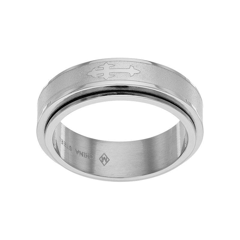 Stainless Steel Men's Sideways Cross Spinner Ring
