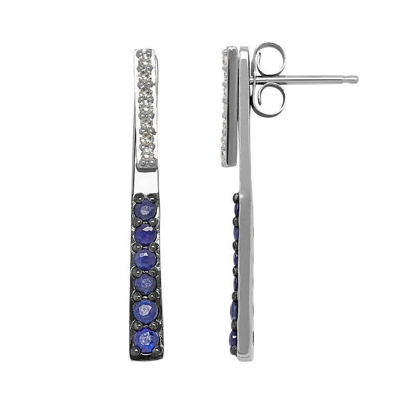 Diamond Accent & Sapphire 10k White Gold Stick Front-Back Drop Earrings