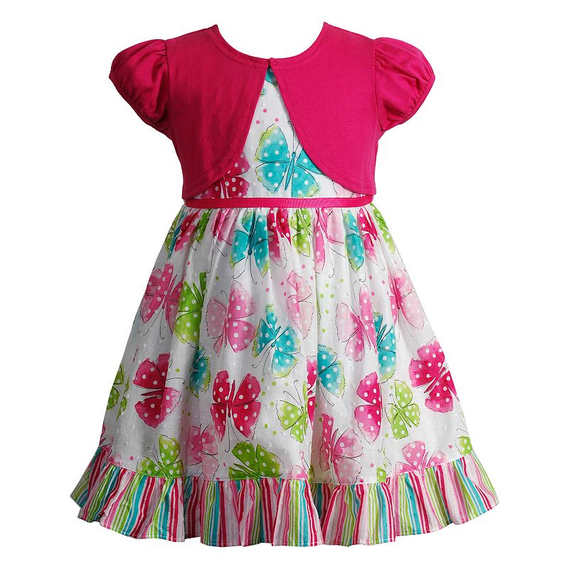 Toddler Girl Youngland Solid Shrug & Butterfly Clip-Dot Patterned Dress