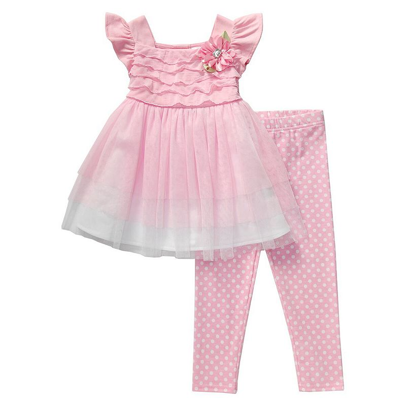 Toddler Girl Youngland Pink Tulle Dress & Polka-Dot Leggings Set
