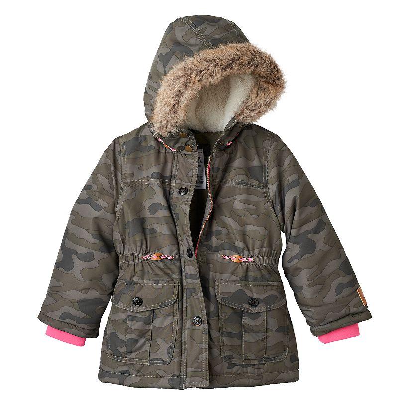 Toddler Girl Carter's Faux-Fur Trim Hooded Jacket
