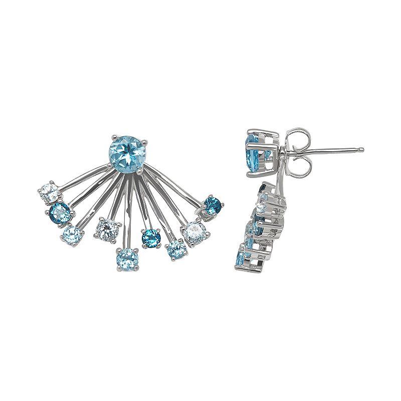 Blue Topaz Sterling Silver Front-Back Jacket Earrings