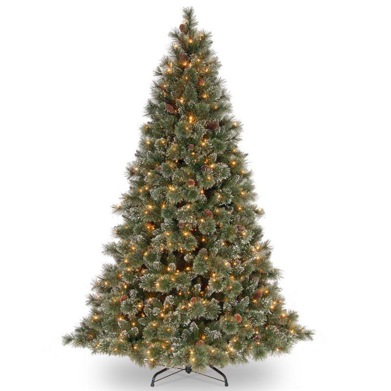 Ft pre lit glittery pinecone bristle pine artificial christmas