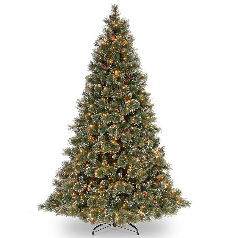 7.5-ft. Pre-Lit Glittery Pinecone Bristle Pine Artificial Christmas Tree