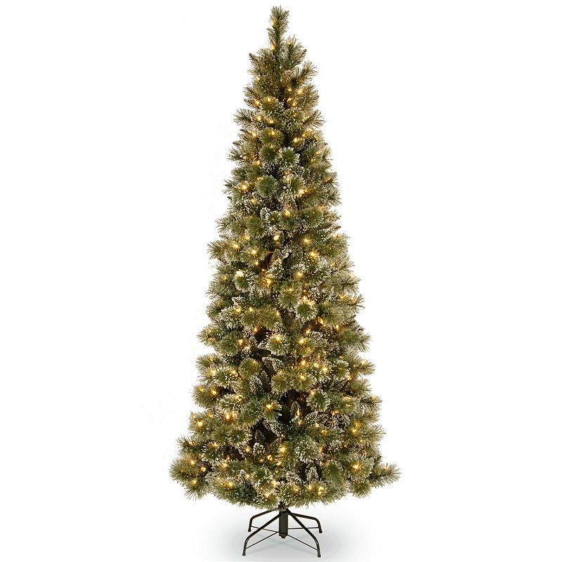 7.5-ft. Pre-Lit LED Glittery Bristle Pine Slim Artificial Christmas Tree