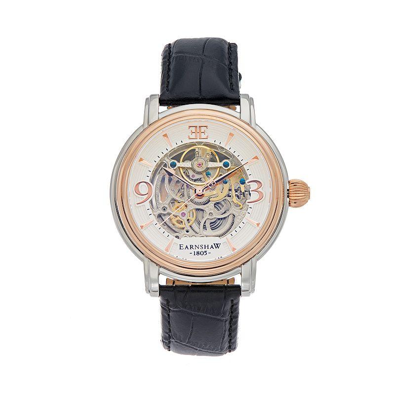 Thomas Earnshaw Men's Longcase Leather Automatic Skeleton Watch
