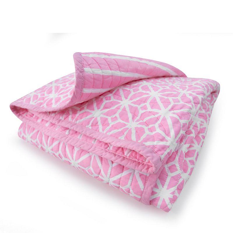 COCALO Audrey Reversible Trellis & Candy Stripe Crib Coverlet