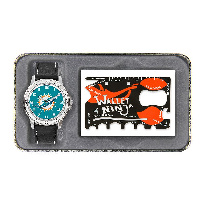 Sparo Miami Dolphins Watch and Wallet Ninja Set - Men