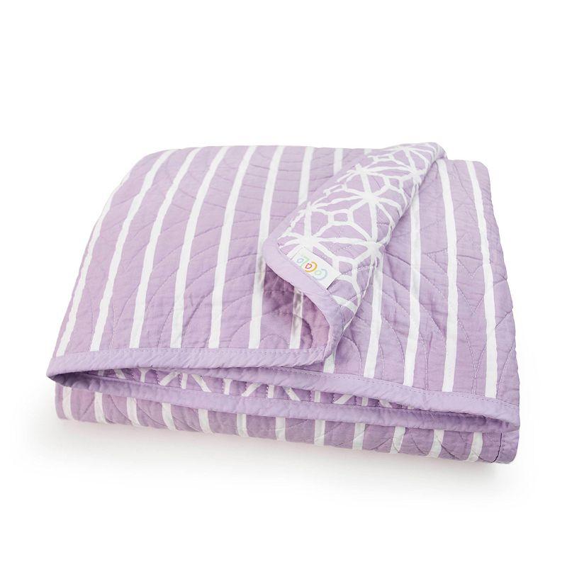 COCALO Violet Reversible Trellis & Candy Stripe Crib Coverlet