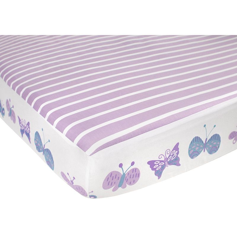 COCALO Violet Butterfly & Stripes Fitted Crib Sheet