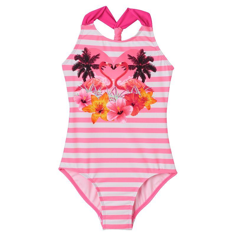 Girls 4-16 SO® Flamingo One-Piece Swimsuit