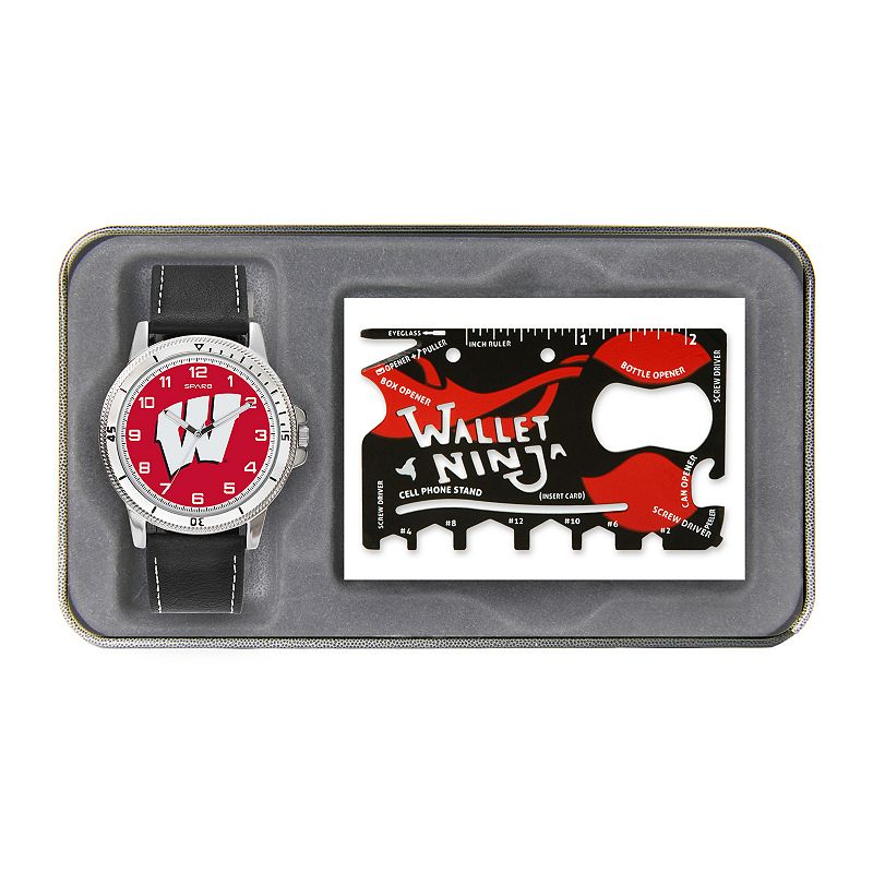 Sparo Wisconsin Badgers Watch and Wallet Ninja Set - Men