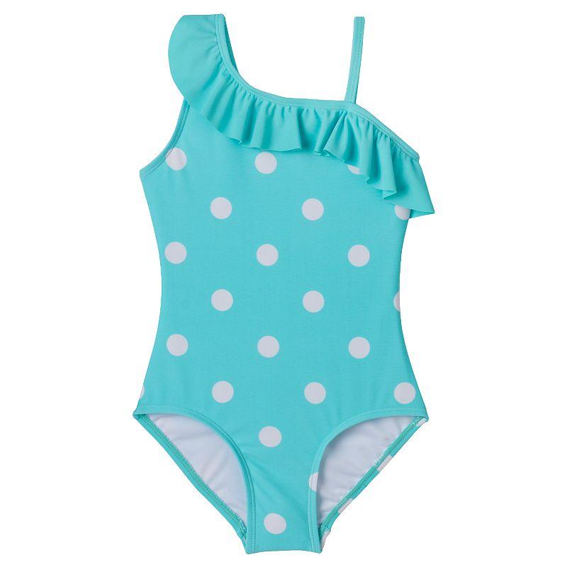 Girls 4-16 SO® Polka-Dot Asymmetrical One-Piece Swimsuit