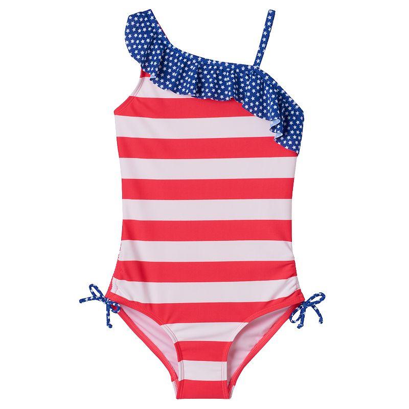 Girls 4-16 SO® Stars & Stripes Asymmetrical One-Piece Swimsuit