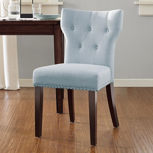 Madison Park Emilia Tufted Back Dining Chair Solid Misty