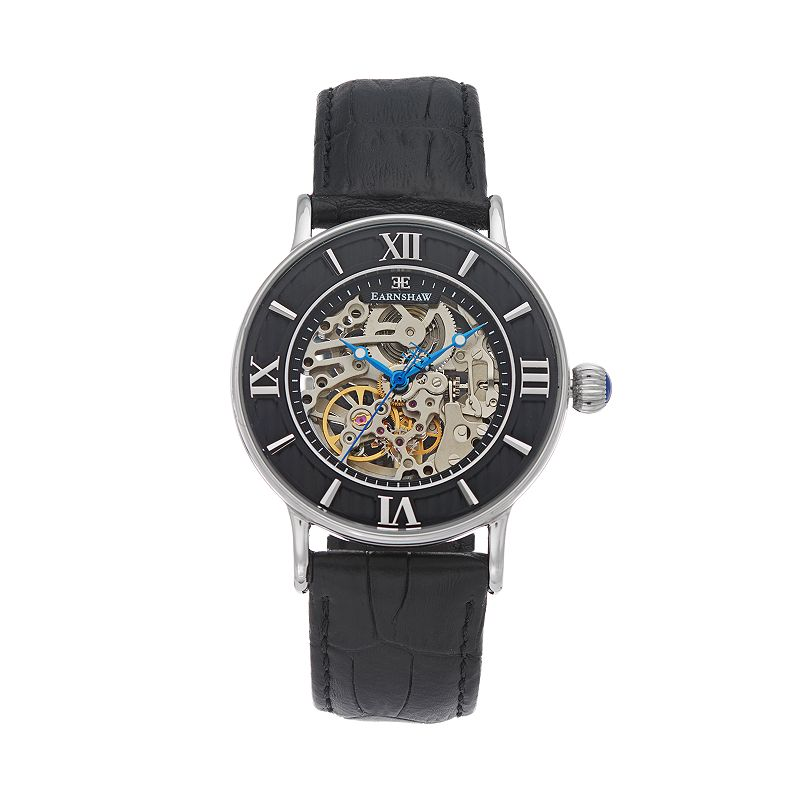 Thomas Earnshaw Men's Armagh Leather Automatic Skeleton Watch - ES-8038-01