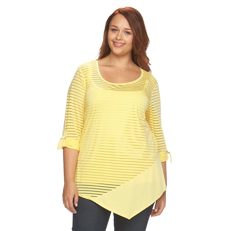 Plus Size AB Studio Burnout Stripe Top
