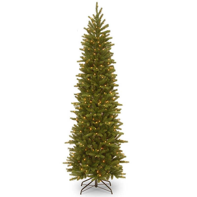 7.5-ft. Pre-Lit ''Feel Real'' Grande Fir Pencil Slim Artificial Christmas Tree