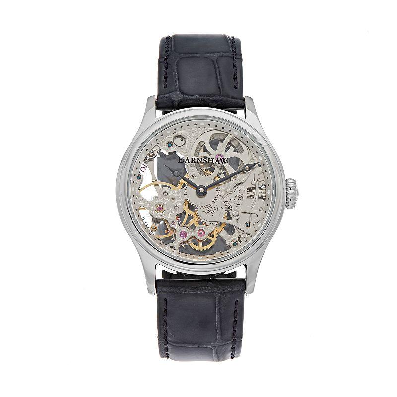 Thomas Earnshaw Men's Bauer Leather Automatic Skeleton Watch - ES-8049-01