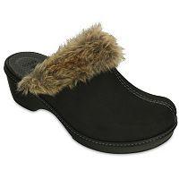 Crocs Cobbler Suede-Like Fuzz Lined Womens Clog (Black)