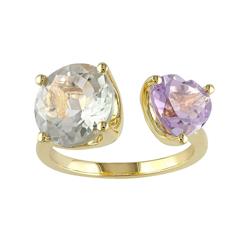 Sterling Silver Rose de France Amethyst & Green Quartz Open Ring